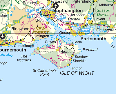 Ordnance Survey Map of The Isle of Wight.