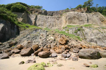 Landslip at Luccombe beach
