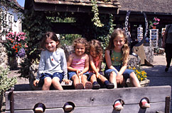 Daughters in The Old Smithy stocks